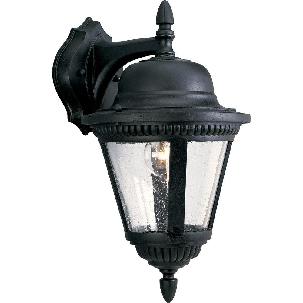 Progress Lighting Westport Collection 1-Light Outdoor Textured Black Wall Lantern