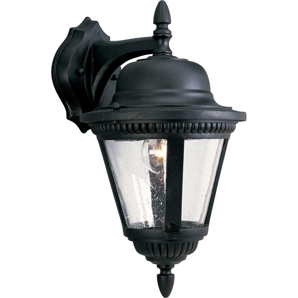 Westport Collection 1-Light Outdoor Textured Black Wall Lantern