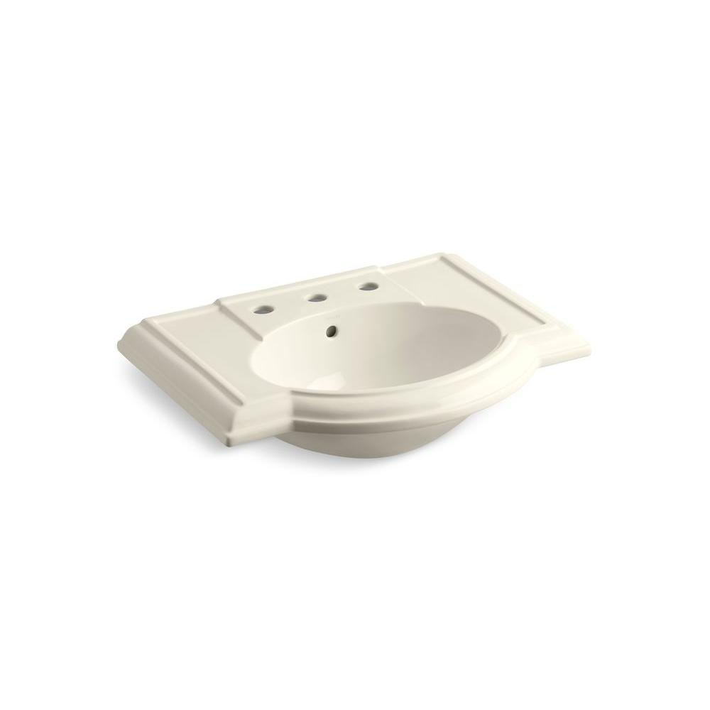 Devonshire Vitreous China Pedestal Sink Basin in Almond with Overflow Drain