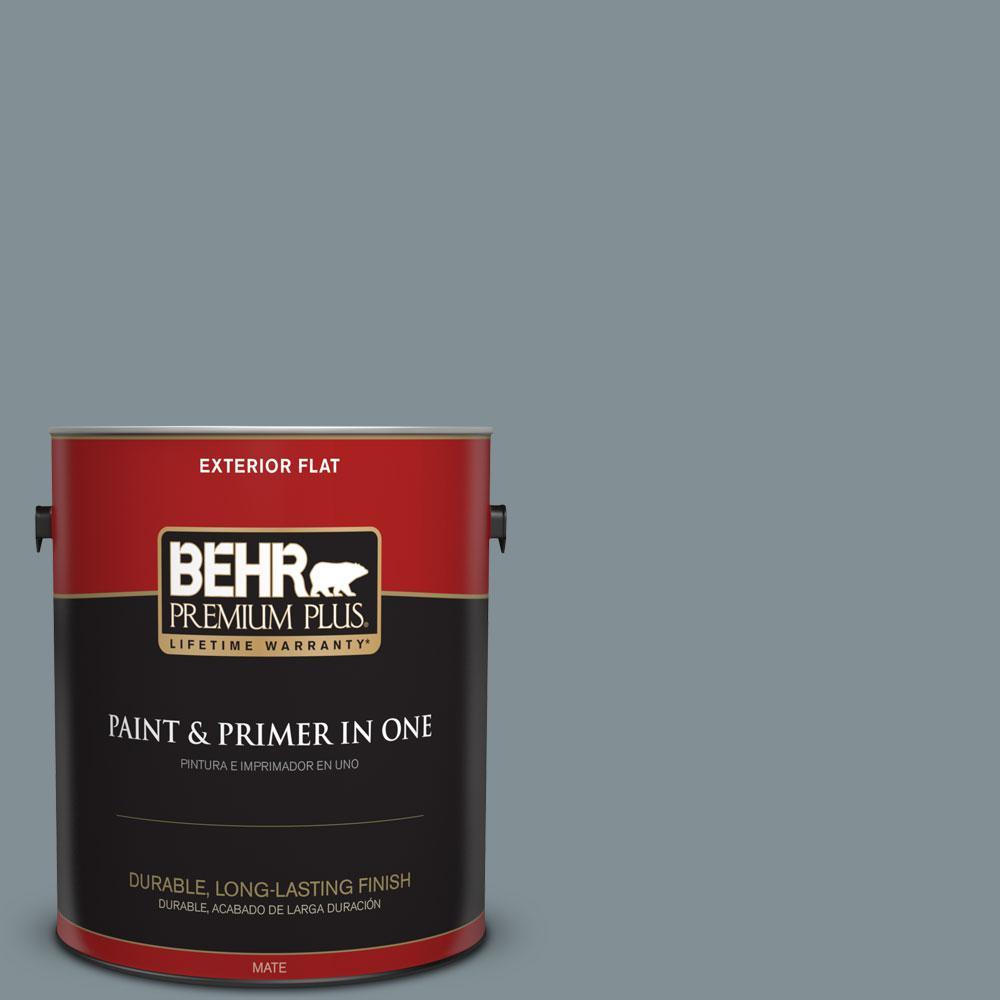 BEHR Premium Plus 1-gal. #740F-4 Dark Storm Cloud Flat Exterior Paint