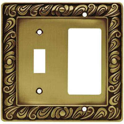 Paisley Decorative Switch and Rocker Switch Plate, Tumbled Antique Brass