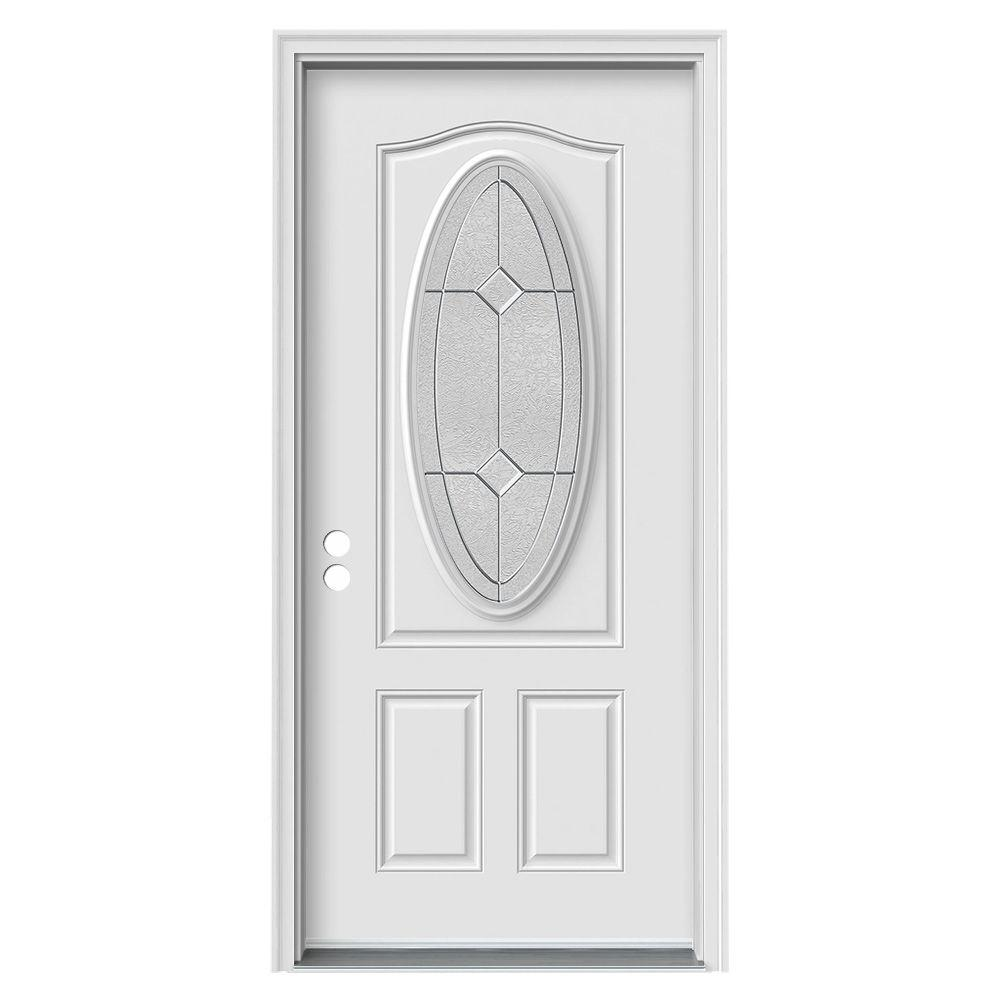 36 in. x 80 in. 3/4 Oval Lite Duet Primed Steel