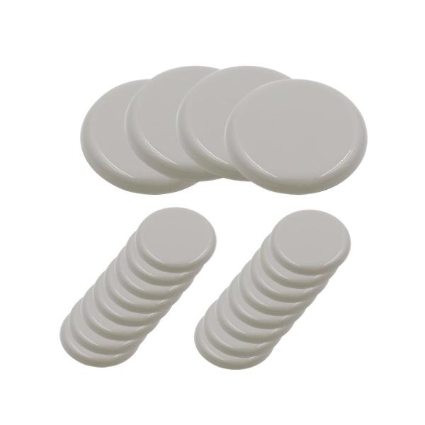 1 in. and 1-3/4 in. Beige Adhesive Round Plastic Sliders for Table and Chairs (20-Pack)