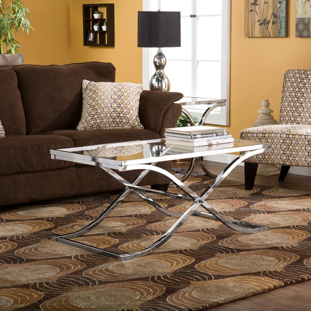 Southern Enterprises Vogue Chrome Contoured Coffee Table