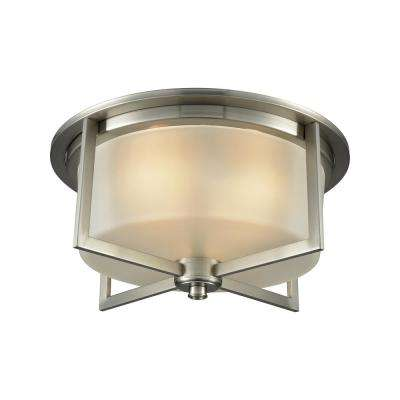 Vancourt 3-Light Satin Nickel with Frosted Glass Flushmount