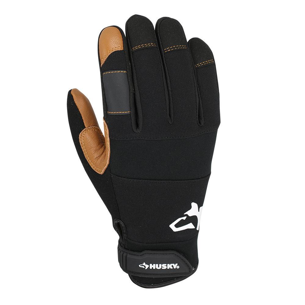 Husky Husky Medium Goat Leather Medium Duty Glove (3-Pack), Adult Unisex, black and brown