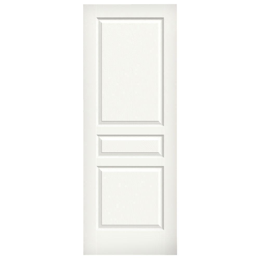JELD-WEN 32 in. x 80 in. Avalon Vanilla Painted Textured Hollow Core Molded Composite MDF Interior Door Slab