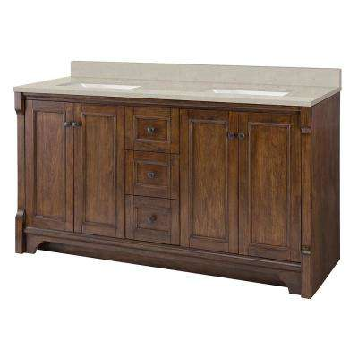 Creedmoor 61 in. W x 22 in. D Vanity in Walnut with Engineered Quartz Vanity Top in Stoneybrook with White Sink
