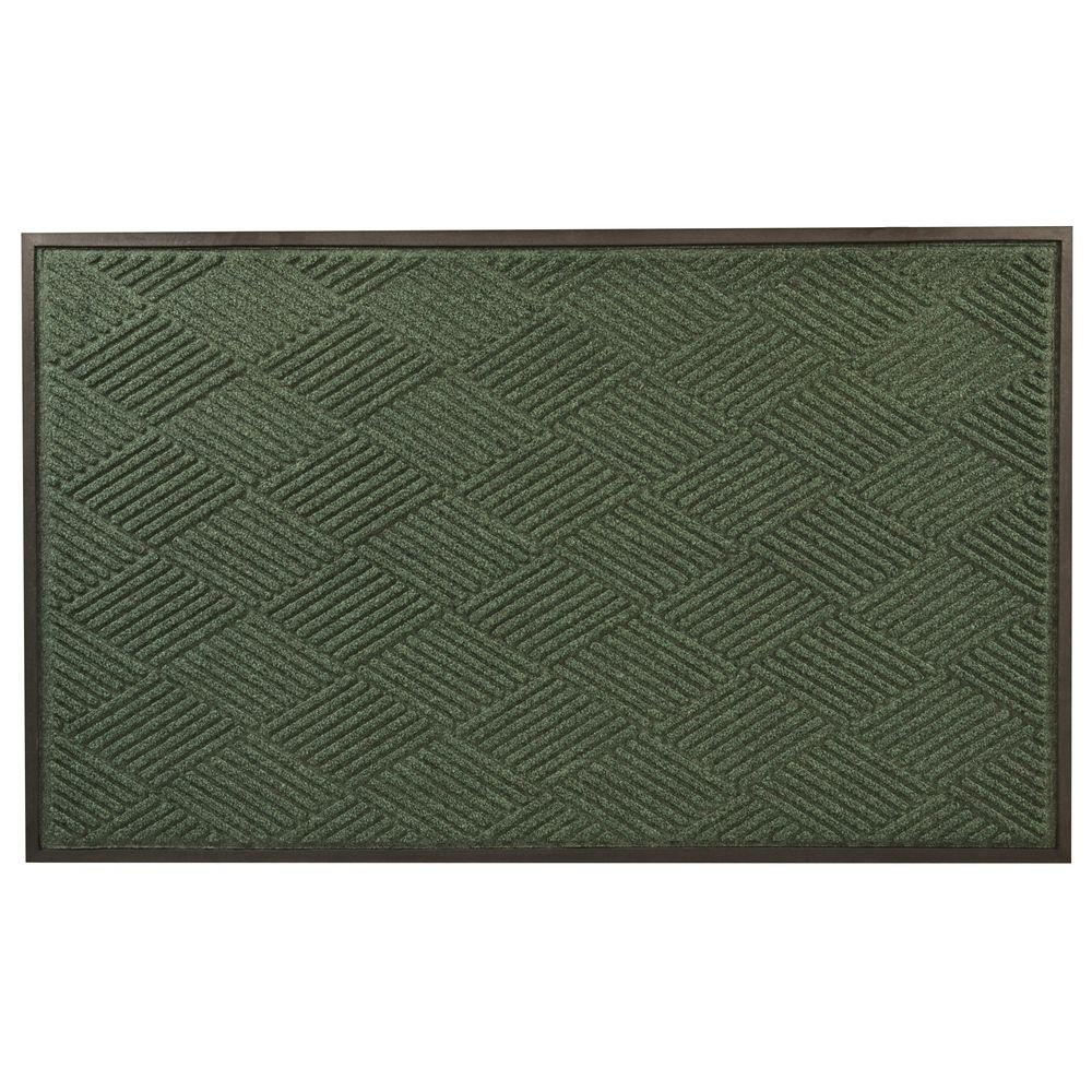NoTrax Opus Green 48 in. x 120 in. Rubber-Backed Entrance Mat, Greens Opus features a diamond pattern made with a tufted Decalon yarn that facilitates the scraping and drying process while a channel design traps moisture and debris. In addition, a raised rubber border on all four sides of the mat acts as a containment barrier ensuring that moisture and dirt is not carried further into the home. The low profile also works well with narrow clearance doorways. Crisp patterns, contemporary designs and aesthetically pleasing color choices complement any decor or setting making it the perfect entrance mat for any doorway. Color: Greens.