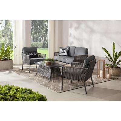 Tolston 4-Piece Wicker Outdoor Patio Conversation Set with Charcoal Cushions