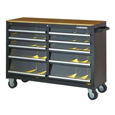 52 in. 10-Drawer Clear View Mobile Workbench with LED lighting and Solid Wood Top, Black