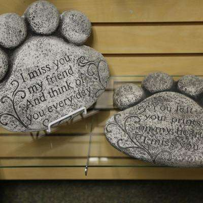 Cement Pet Memorial Paw Print Stepping Stones (Set of 2)