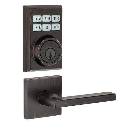 SmartCode Contemporary Venetian Bronze Single Cylinder Electronic Deadbolt and Halifax Lever with SmartKey Security