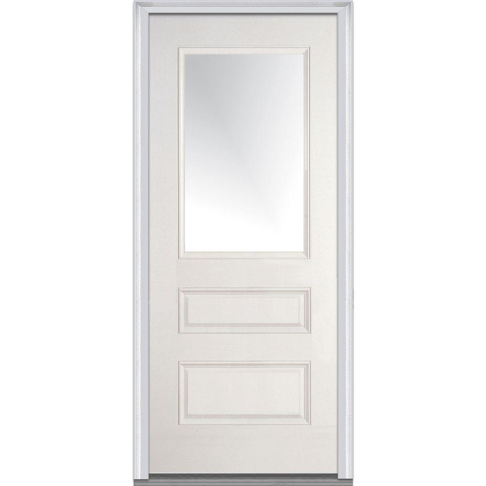 36 in. x 80 in. Clear Left-Hand 1/2 Lite Horizontal 2-Panel