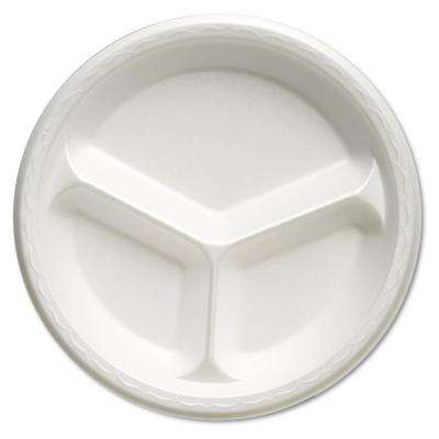 Celebrity 10-1/4 in. 3-Compartment Foam Plates in White (500 Per Case)
