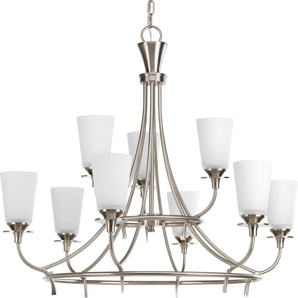 Cantata Collection 9-Light Brushed Nickel Chandelier with Etched White Glass