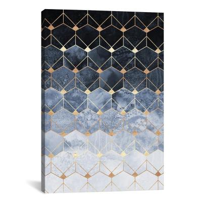 """""""Blue Hexagons And Diamonds"""" by Elisabeth Fredriksson Canvas Wall Art"""