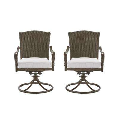 Walton Springs Dark Brown Motion Aluminum Outdoor Dining Chair with Cushions Included, Choose Your Own Color (2-Pack)