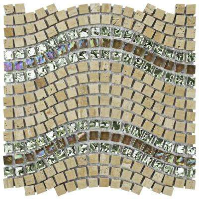 Tessera Wave Venus 11-3/4 in. x 12-1/4 in. x 8 mm Glass and Stone Mosaic Tile