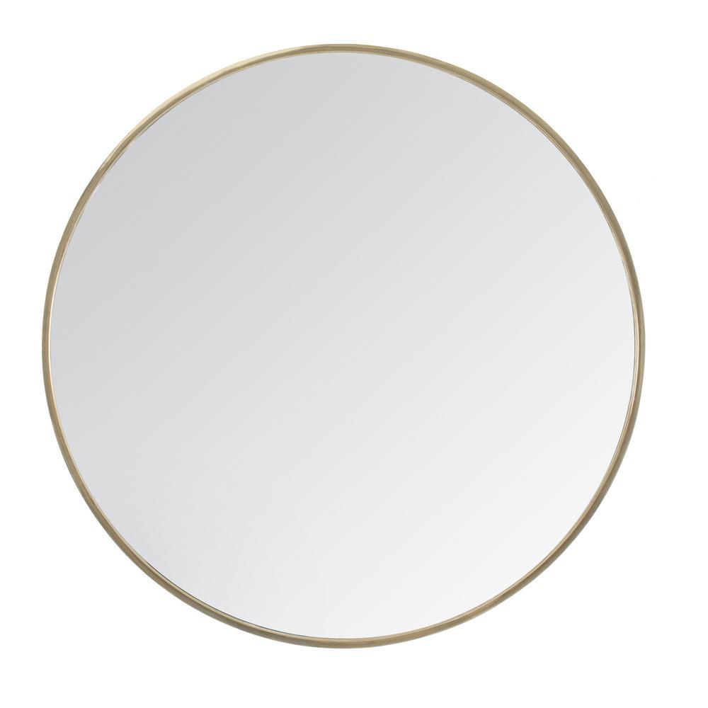 Medium Round Gold Hooks Modern Mirror (24 in. H x 24 in. W)