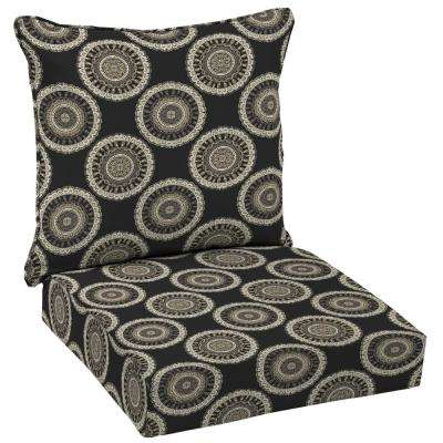 Black Geo Deep Seating Outdoor Lounge Chair Cushion