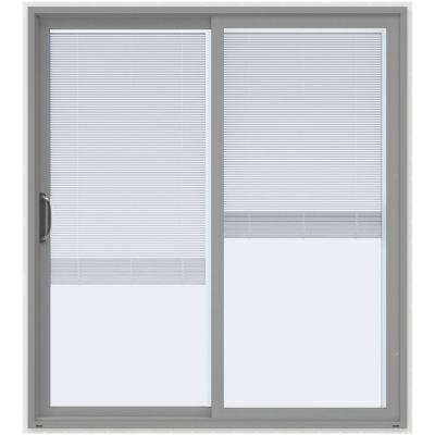 72 in. x 80 in. V-4500 Arctic Silver Prehung Left-Hand Sliding Vinyl Patio Door with White Interior and Blinds
