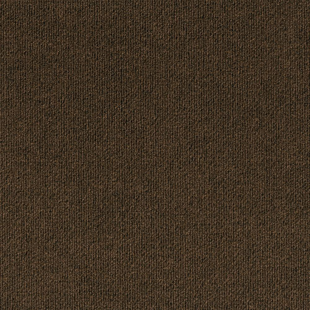 Foss Premium Self-Stick Inspirations Mocha Ribbed Texture 18 in. x 18 in. Carpet Tile (16 Tiles/36 sq. ft. /case)