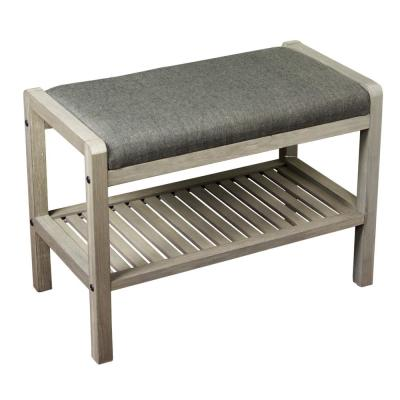 Gray Solid Wood Bamboo Padded Entryway Bench