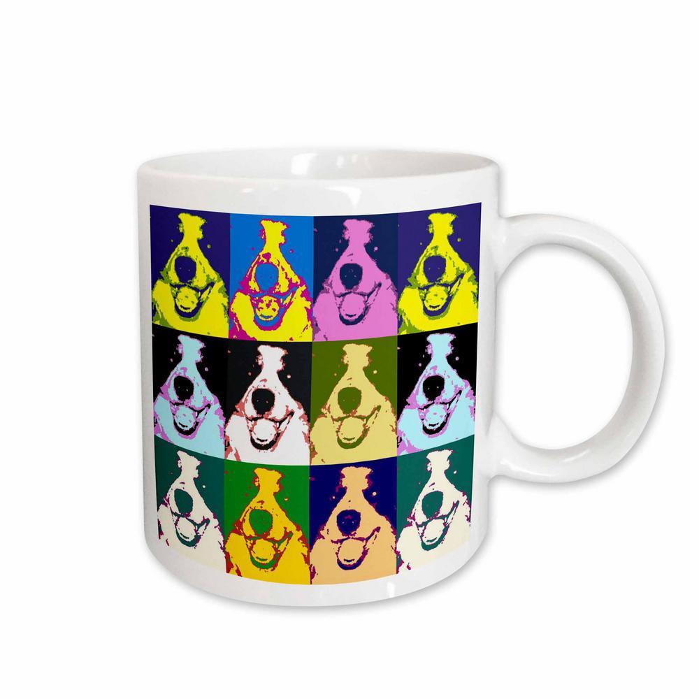 Sandy Mertens Right Pop Art Designs 11 oz. White Ceramic Border Collie Pop Art Mug