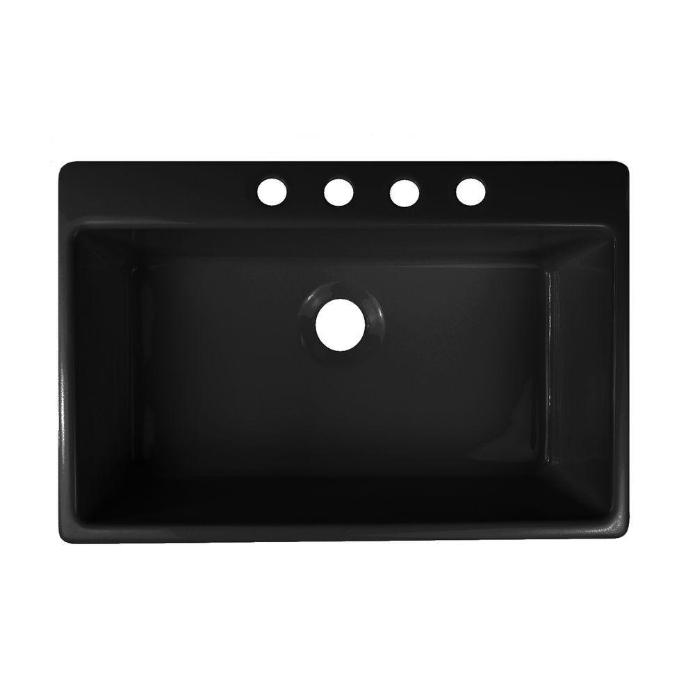 Essence Drop-In Acrylic 33x22x9 in. 4-Hole Single Bowl Kitchen Sink in Black