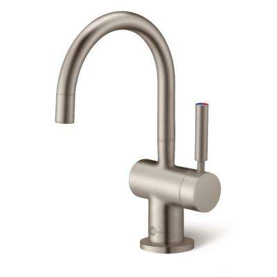 Indulge Modern Single Handle Instant Hot And Cold Water Dispenser Faucet In Satin Nickel