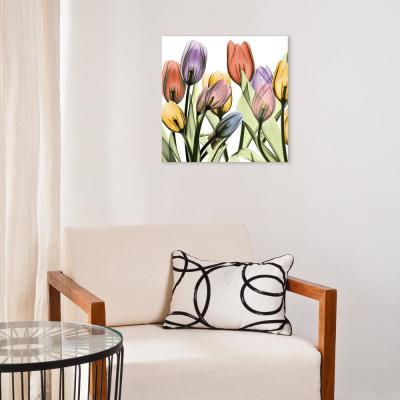 """""""Tulip Scape X-Ray I"""" Frameless Free Floating Tempered Glass Panel Graphic Wall Art"""