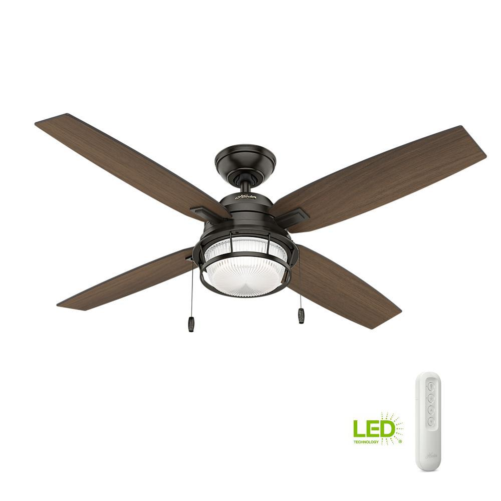 Hunter Ocala 52 In Led Indoor Outdoor Noble Bronze Ceiling Fan With Light And