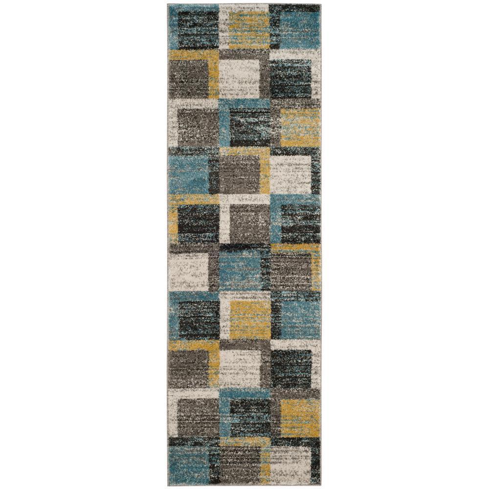 Tahoe Gray/Light Blue 2 ft. 6 in. x 8 ft. Runner Rug