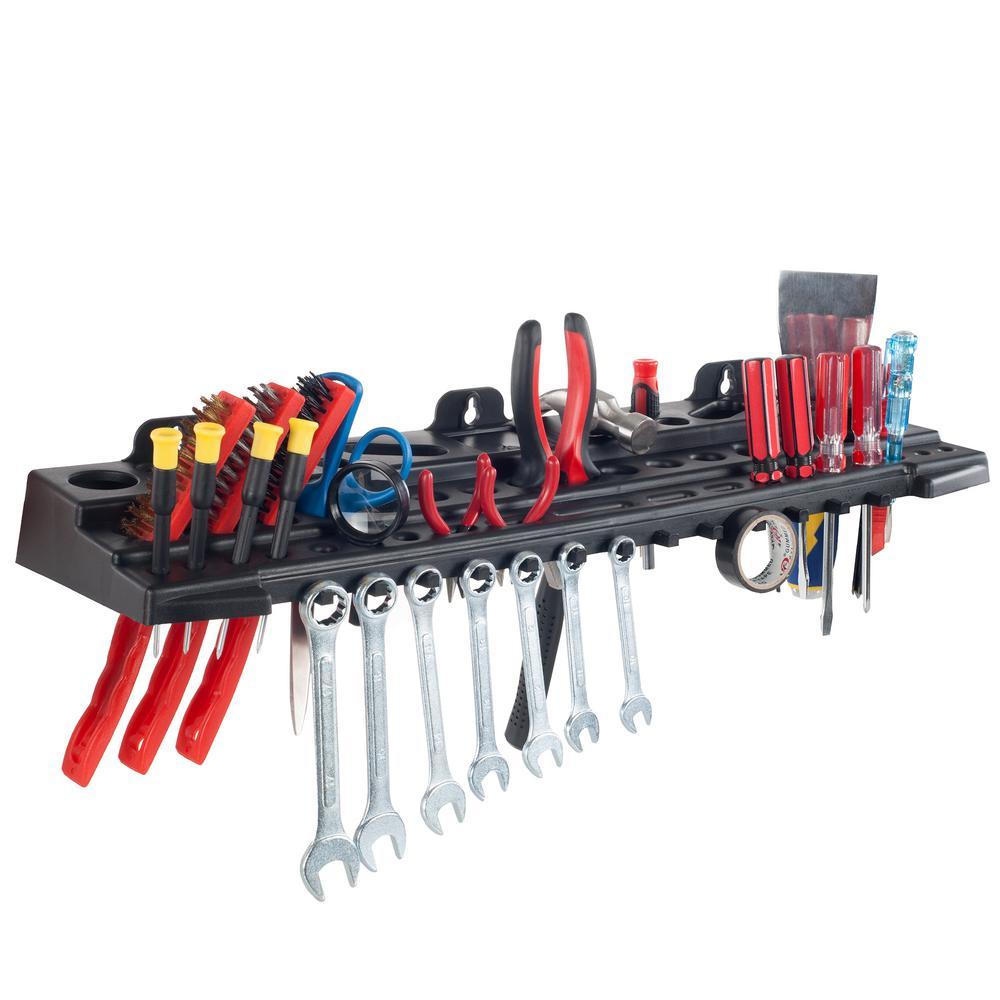 24 in. Grey Wall Mount Tool Organizer Shelf