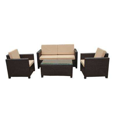 Dark Brown 4-Piece Wicker Patio Conversation Set with Sand Cushions