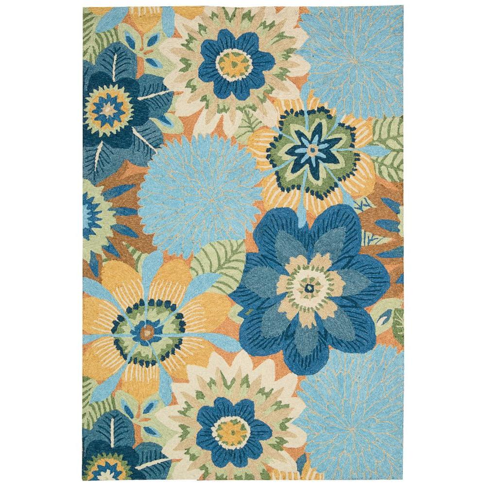 Nourison Overstock South Beach Aqua 10 ft. x 13 ft. Indoor/Outdoor Area Rug