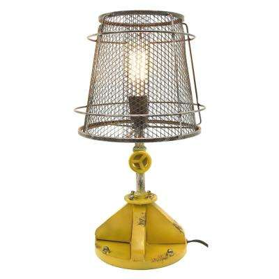 19.5 in. Metal Lamp in Black and Yellow