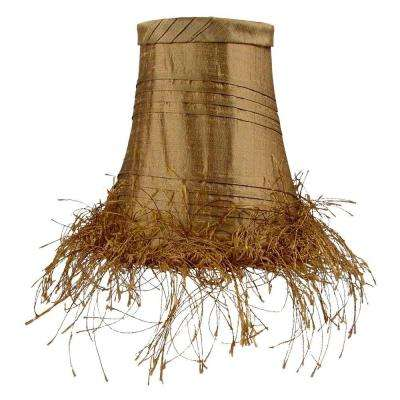 Stretch Bell Olive Dupione Silk Chandelier Shade with Horizontal Quarter Pleats and Eyelash Trim