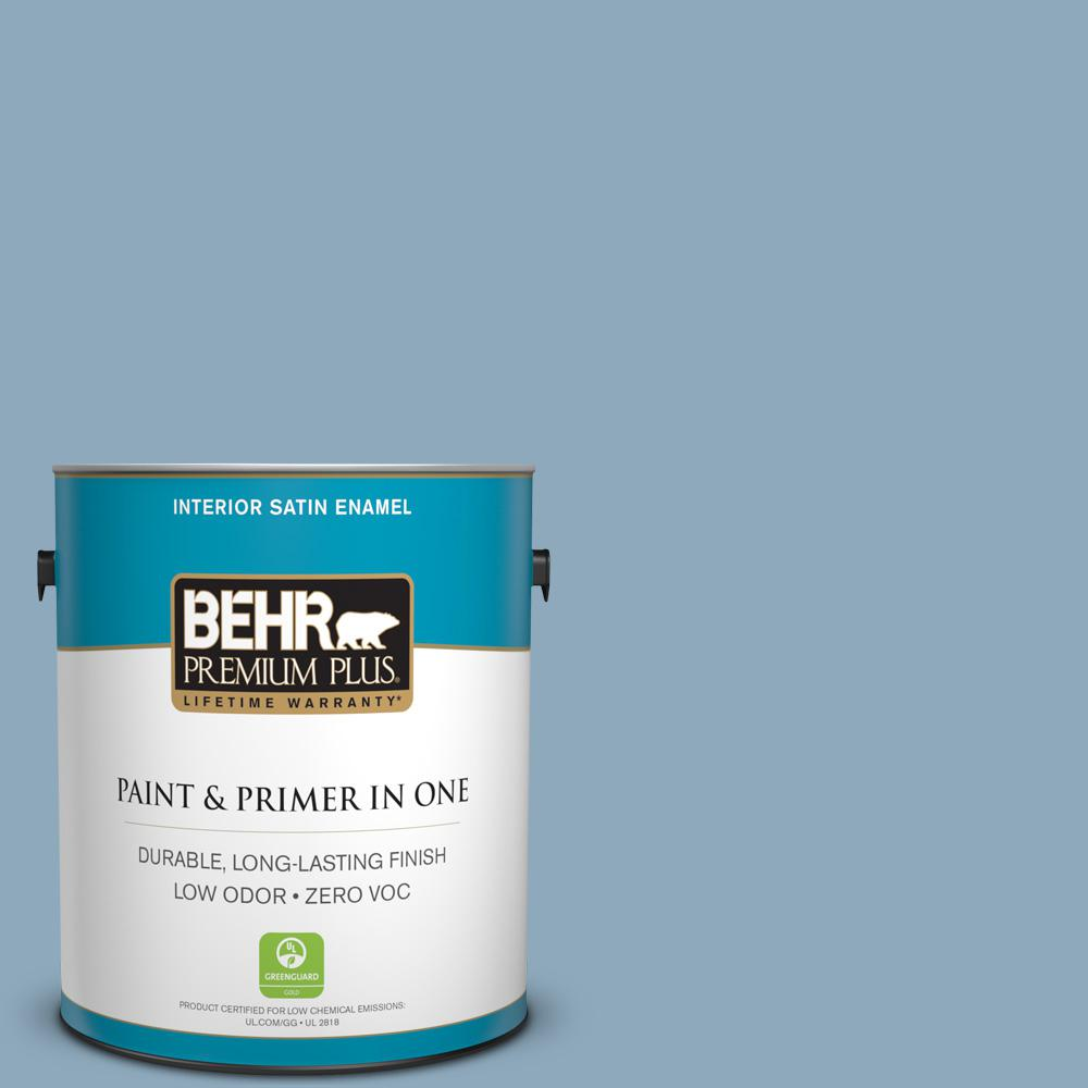 1 gal. #PPU14-09 Windsurf Satin Enamel Zero VOC Interior Paint and