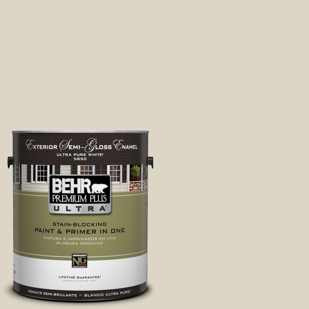 BEHR Premium Plus Ultra 1-Gal. #UL190-15 Stonewashed Semi-Gloss Enamel Exterior Paint