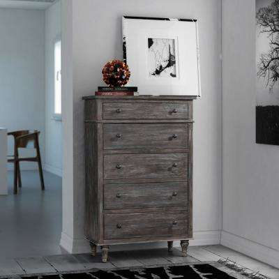 Valles 5-Drawer Distressed Charcoal Chest