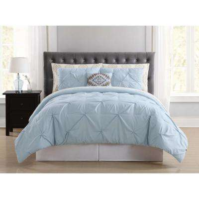 Pueblo Pleated Light Blue King Bed in a Bag