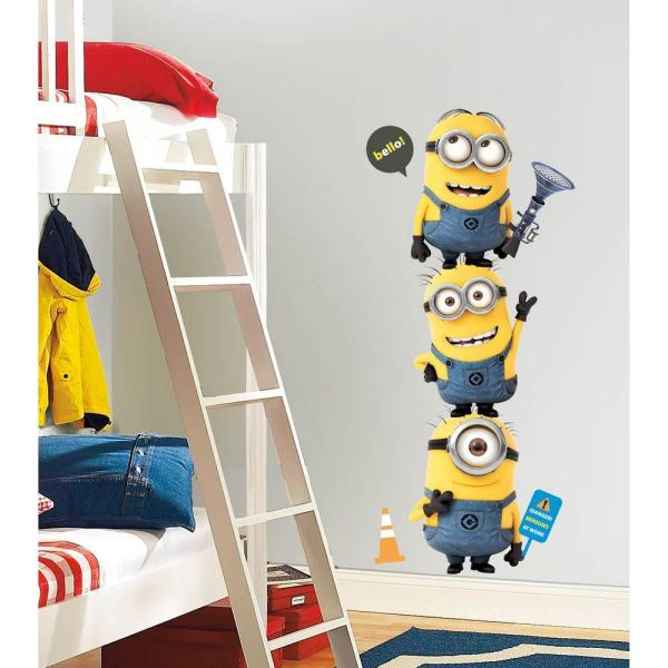 5 in. x 19 in. Despicable Me 2 Minions Giant Peel and Stick Giant Wall  Decals