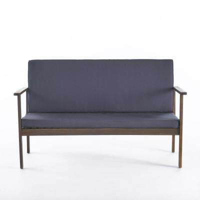 Luciano Grey Wood Outdoor Bench with Dark Grey Cushion