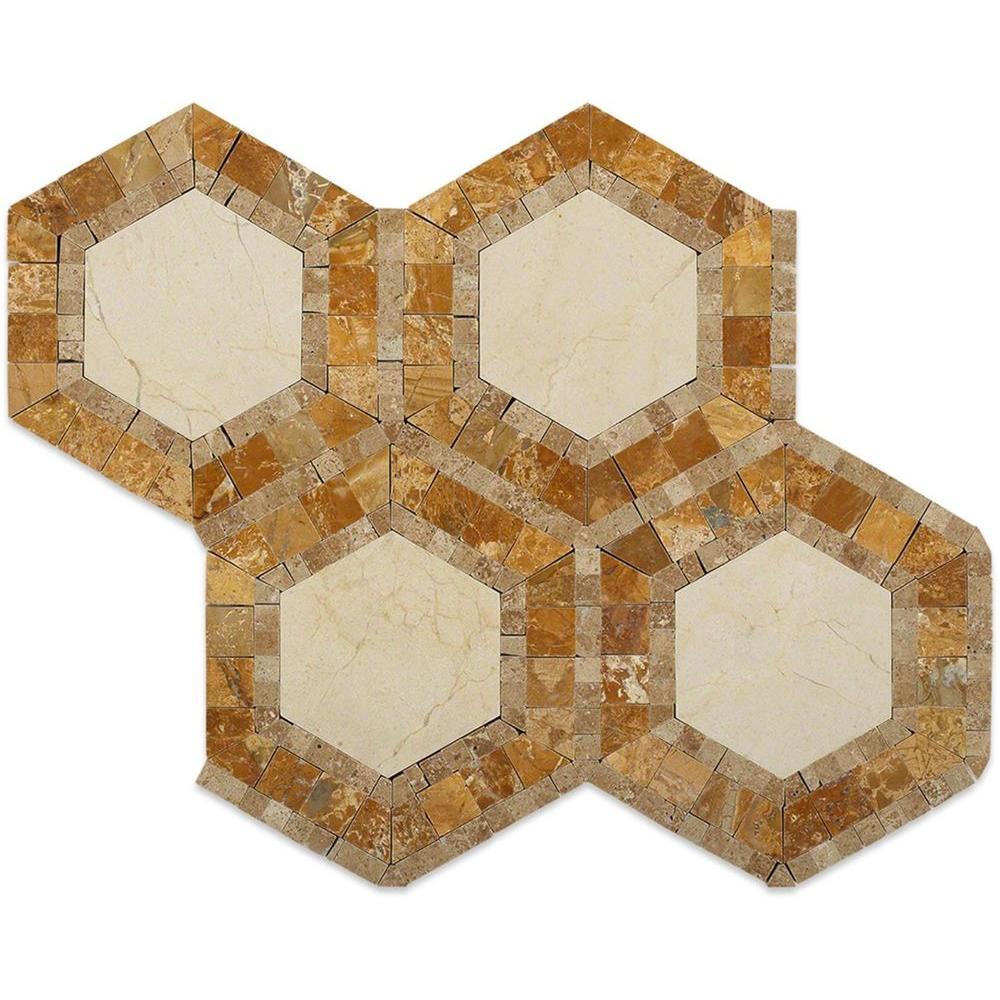 Zeta Crema Marfil Noche Polished Marble Tile - 6 in. x 6 in. Tile Sample