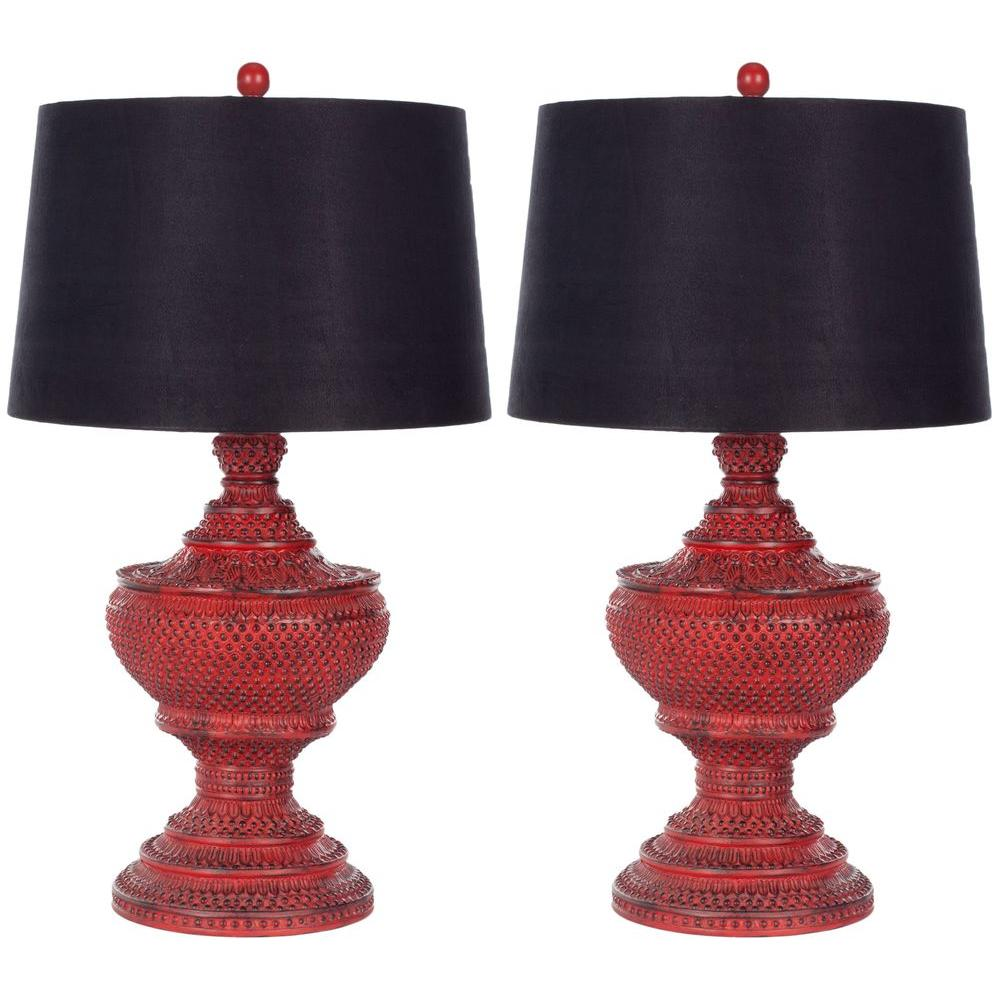 Distressed Red Chinese Urn Lamp Set Of 2
