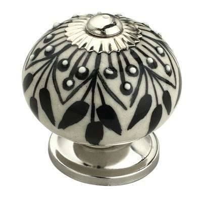 Crystalled 1-3/5 in. (41 mm) Black and Cream Cabinet Knob