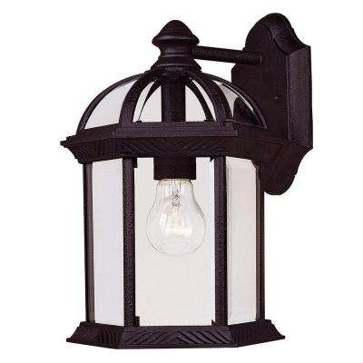 Satin 1-Light Outdoor Textured Black Wall Lantern