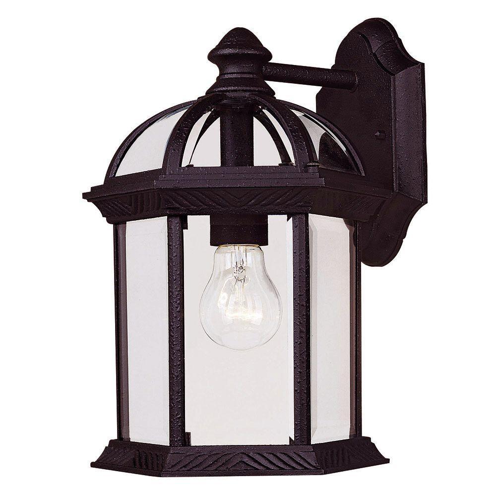 Satin 1-Light Outdoor Textured Black Wall Lantern Sconce